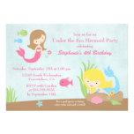 Under the sea mermaid girl's birthday party invite
