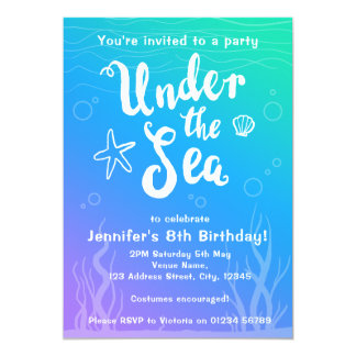 Under the sea mermaid kids party invitation