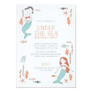 Under the Sea Mermaid Party Birthday Invitation