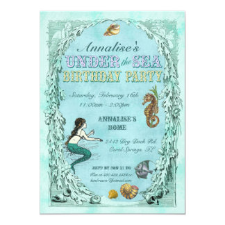 Under the Sea Mermaid Party Invitation - purple
