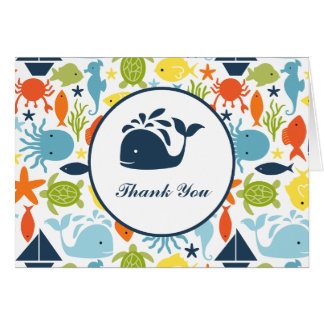 Under the Sea, Nautical Baby Shower Thank You Note Card