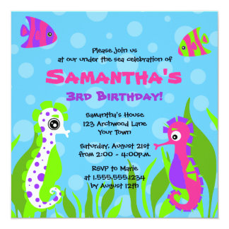 Under the Sea Ocean Themed Kids Birthday Party 13 Cm X 13 Cm Square Invitation Card