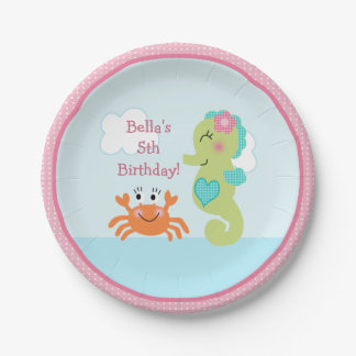 Under the Sea Pink Seahorse Crab Paper Plate
