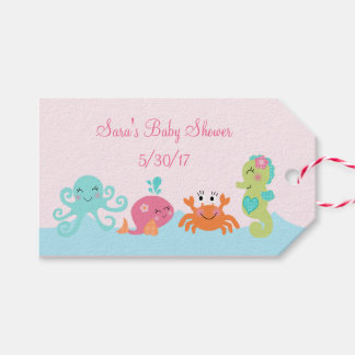 Under the Sea Pink Whale Baby Shower Favor Tags