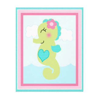 Under the Sea/Pink Whale/Seahorse Canvas Art