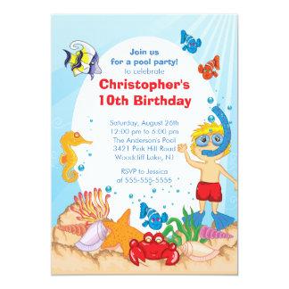 "Under the Sea Pool Party Birthday Invitation boy 5"" X 7"" Invitation Card"