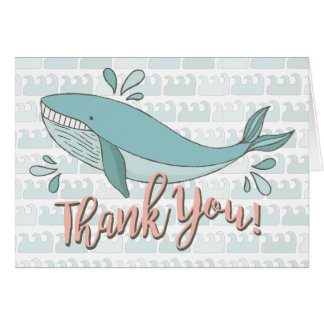 Under the sea Whale Thank you note card