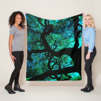 Under The Tree in Turquoise Fleece Blanket