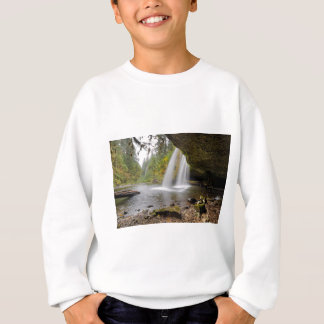 Under Upper Butte Creek Falls in Autumn Sweatshirt