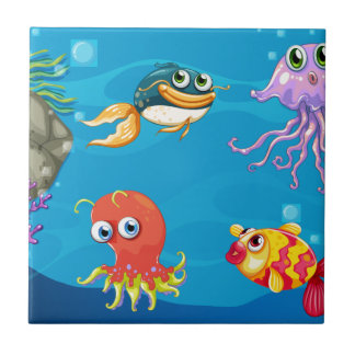 Under water creatures small square tile