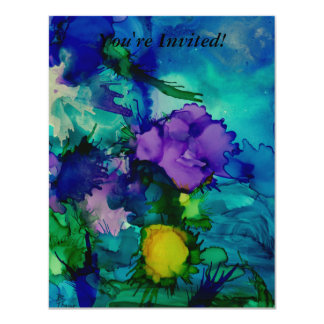 "Under Water World Abstract 4.25"" X 5.5"" Invitation Card"