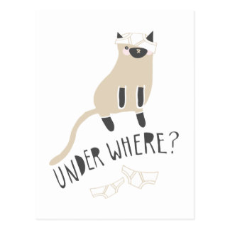 """Under Where?"" Siamese Postcard"