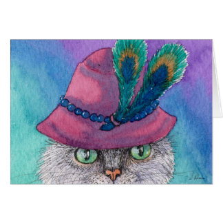 Undercover cloche cat, blank greeting card