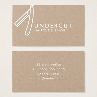 Undercut Barber Razor Logo Kraft Business Card