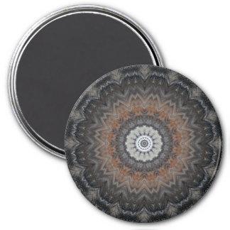 Understated Silver and Grey Mandala Kaleidoscope 7.5 Cm Round Magnet