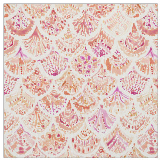 UNDERTOW Coral Watercolor Mermaid Scales Fabric
