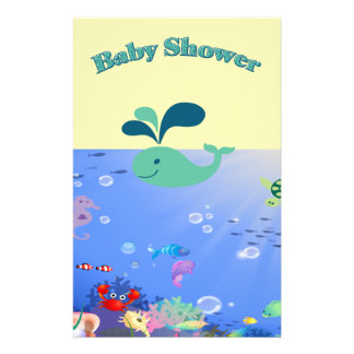 Underwater Adventure Baby Shower Boy Or Girl Personalized Stationery