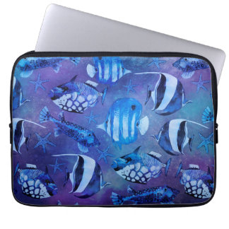 Underwater Blue Fish Laptop Computer Sleeves