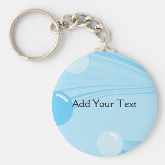 Underwater Bubbles in Blue Basic Round Button Key Ring