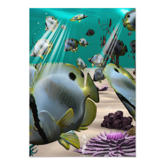 """Underwater, butterfly fish 5"""" x 7"""" invitation card"""