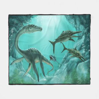 Underwater Dinosaur Fleece Blanket