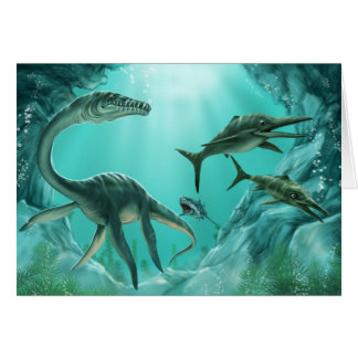 Underwater Dinosaur Greeting Card