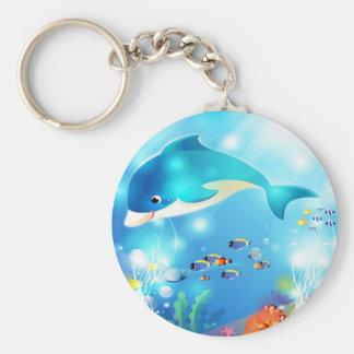 Underwater dolphin artwork design key ring