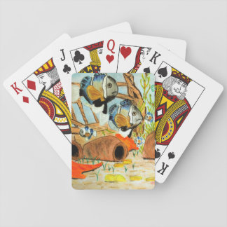Underwater drawing playing cards