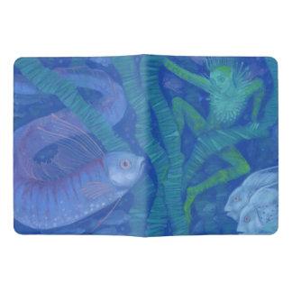 Underwater fantasy amphibian & fish in blue shades extra large moleskine notebook