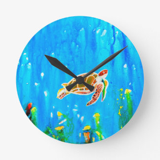 Underwater Magic 5-Happy Turtle excellent gift Round Clock