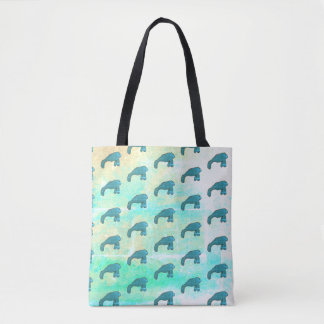 Underwater Manatee Pattern Tote Bag