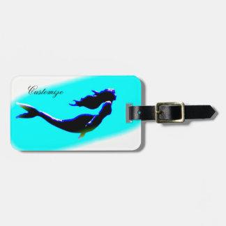 underwater mermaid swimming customized luggage tag