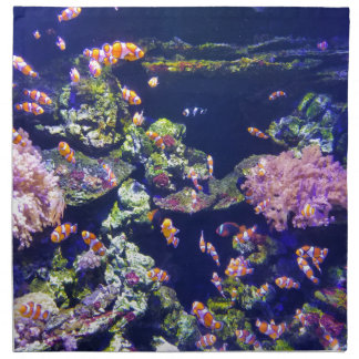 Underwater Orange Clown Fish Around Coral Napkin