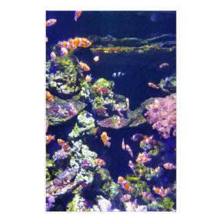 Underwater Orange Clown Fish Around Coral Stationery