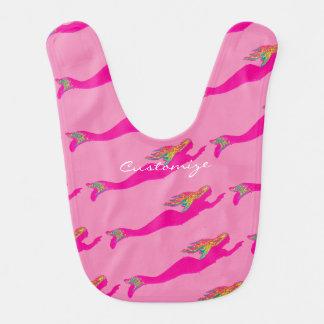 underwater pink mermaids swimming baby bibs