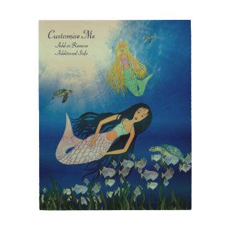 Underwater Play (Mermaid) Wood Canvas