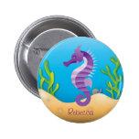 Underwater Purple Seahorse Button