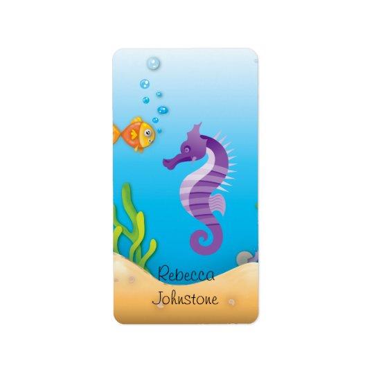 Underwater Purple Seahorse Label