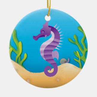 Underwater Purple Seahorse Round Ornament