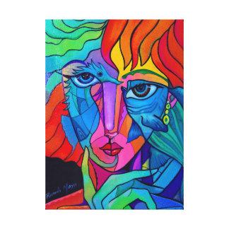 Underwater rainbow girl canvas print