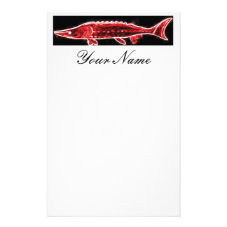 underwater red sturgeon swimming stationery paper
