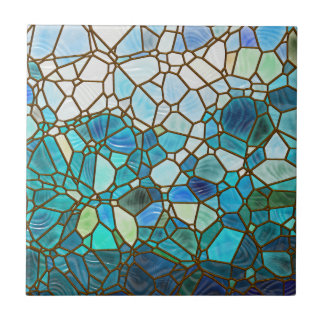 Underwater scene stained glass ceramic tile