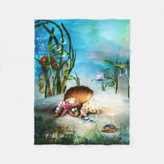 Underwater Sea Life Small Fleece Blanket