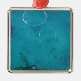 Underwater Smoke Rings Silver-Colored Square Decoration