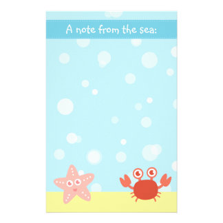 Underwater theme with Starfish and Crab Custom Stationery