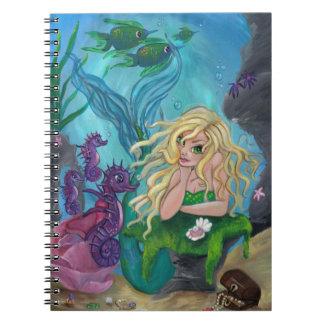 """""""Underwater Treasures"""" mermaid seahorse NOTEBOOK"""