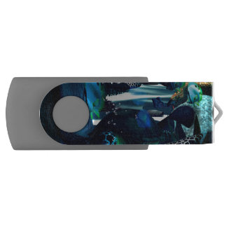 Underwater, Turtles and butterfly Swivel USB 2.0 Flash Drive