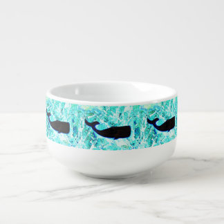 underwater whales swimming Thunder_Cove Soup Bowl With Handle