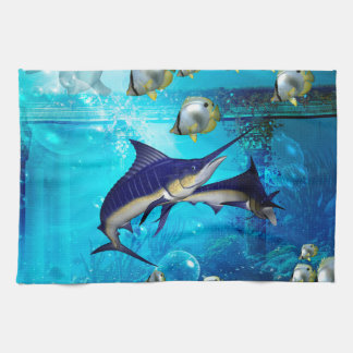 Underwater world tea towel