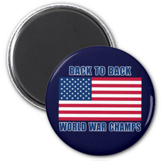 Undisputed World War Champions with American Flag 6 Cm Round Magnet